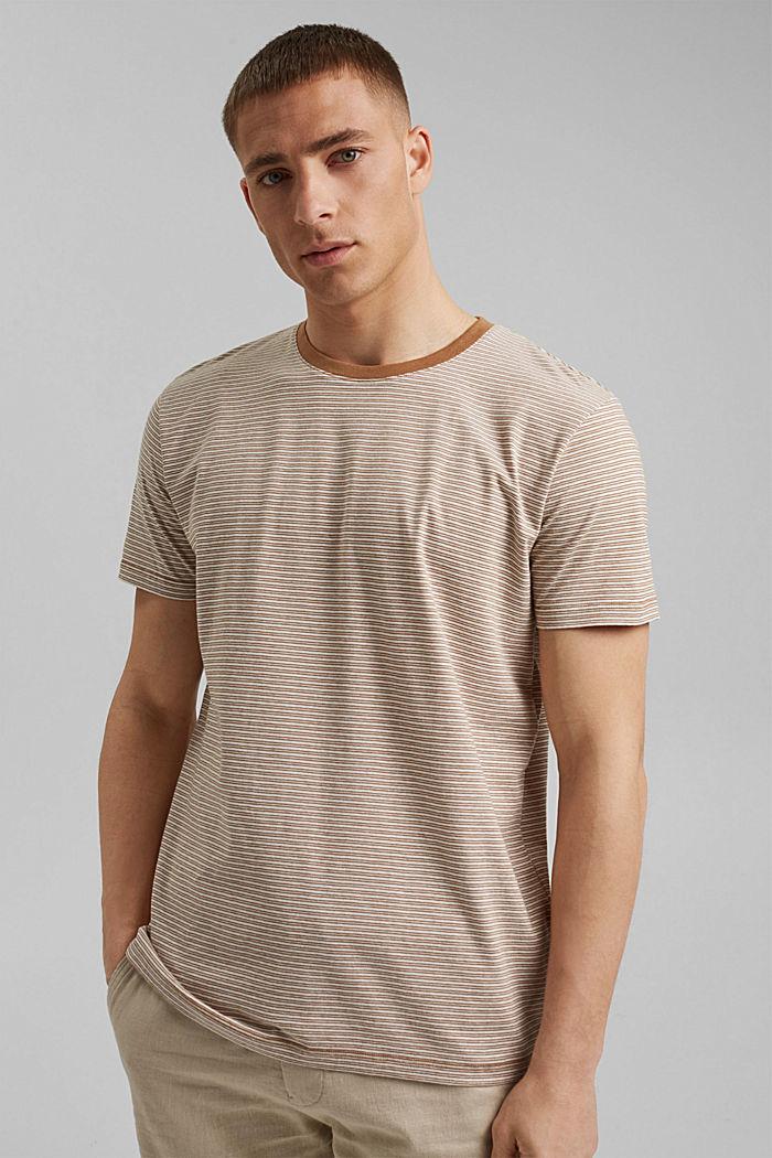Mit Leinen: Jersey-T-Shirt mit Streifen, CAMEL, detail image number 0