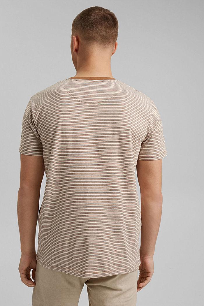 Mit Leinen: Jersey-T-Shirt mit Streifen, CAMEL, detail image number 3