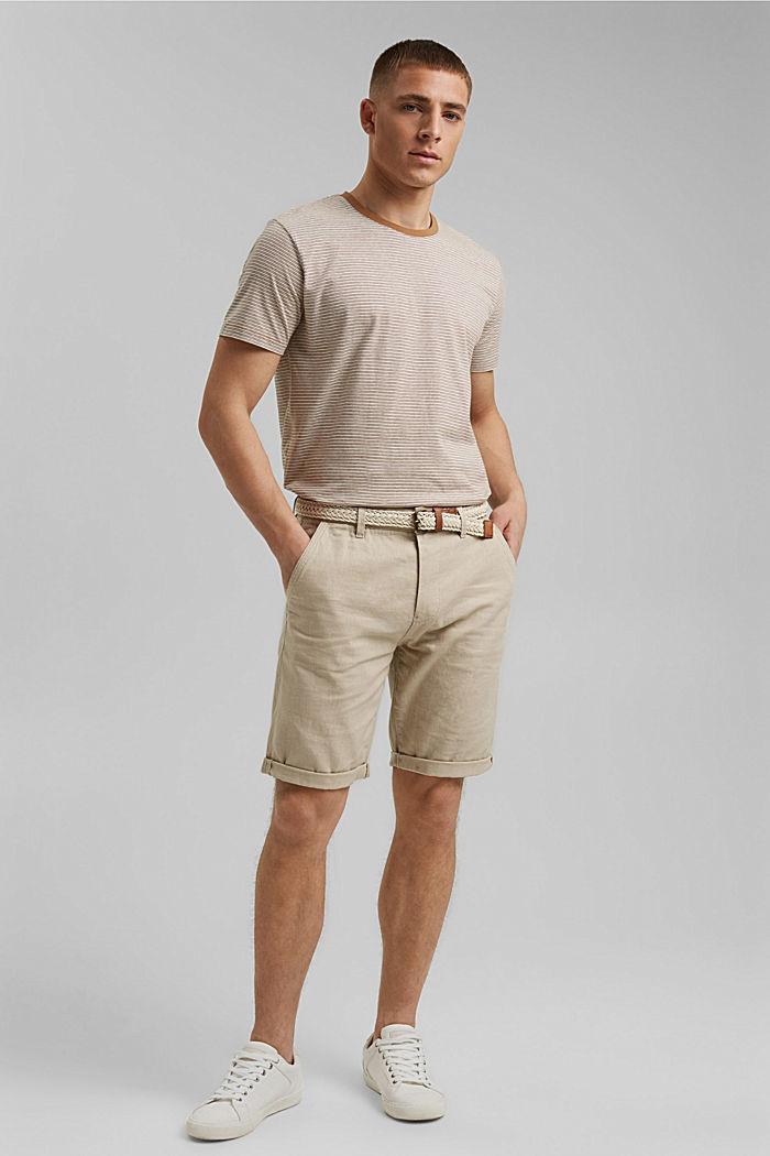 Mit Leinen: Jersey-T-Shirt mit Streifen, CAMEL, detail image number 2