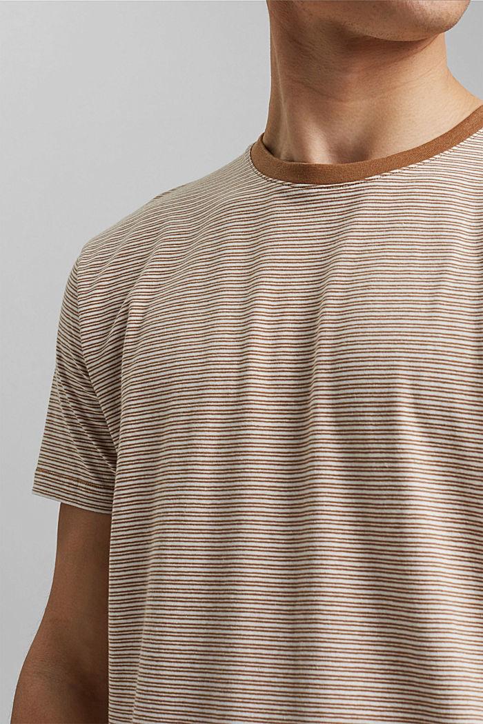 Mit Leinen: Jersey-T-Shirt mit Streifen, CAMEL, detail image number 1