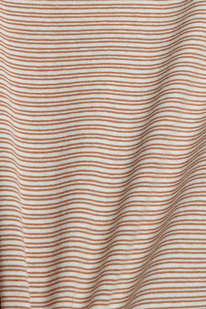 Mit Leinen: Jersey-T-Shirt mit Streifen, CAMEL, detail image number 4
