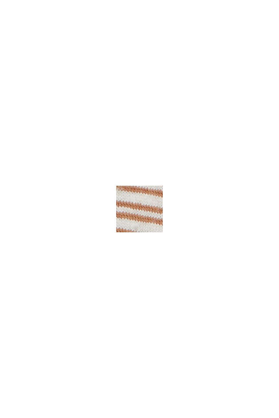 Linen blend: jersey T-shirt with stripes, CAMEL, swatch