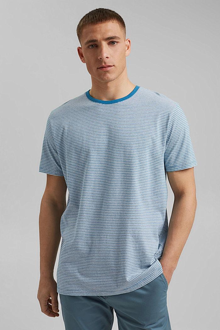 Linen blend: jersey T-shirt with stripes