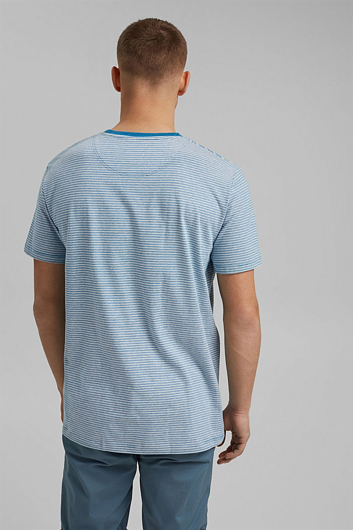 Met linnen: gestreept jersey T-shirt, PETROL BLUE, detail image number 3