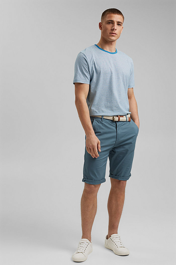 Met linnen: gestreept jersey T-shirt, PETROL BLUE, detail image number 2