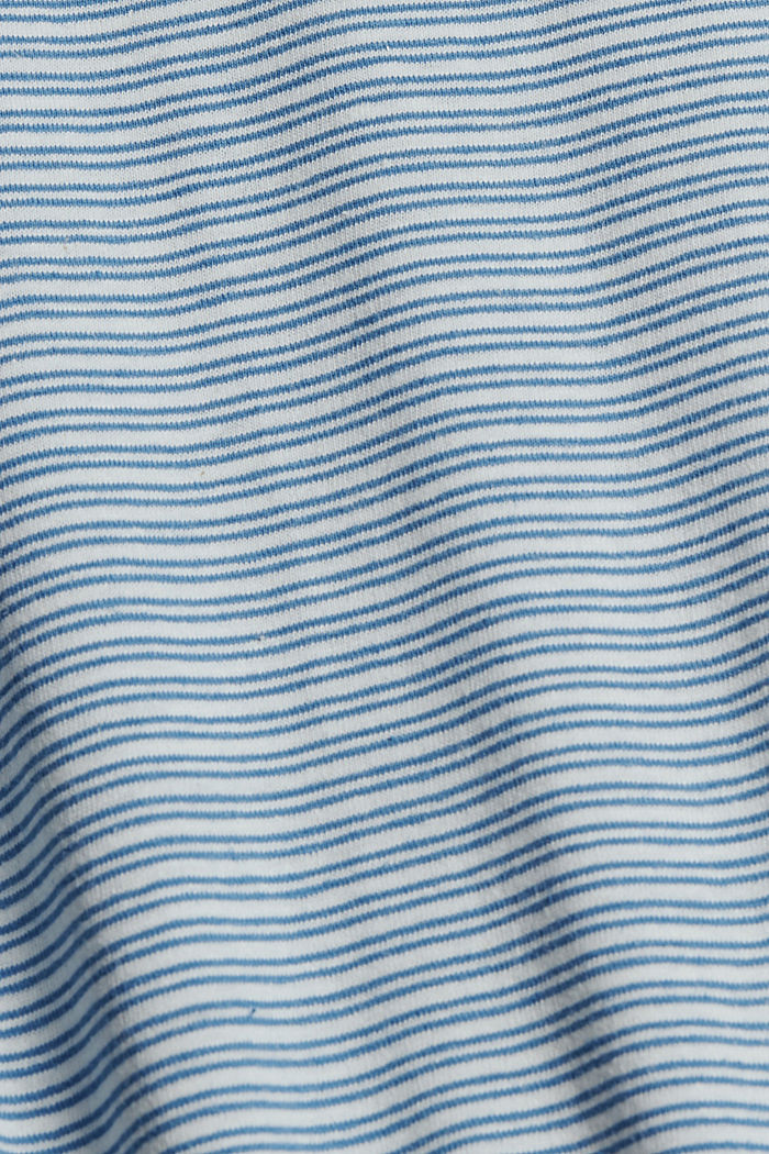 Met linnen: gestreept jersey T-shirt, PETROL BLUE, detail image number 4
