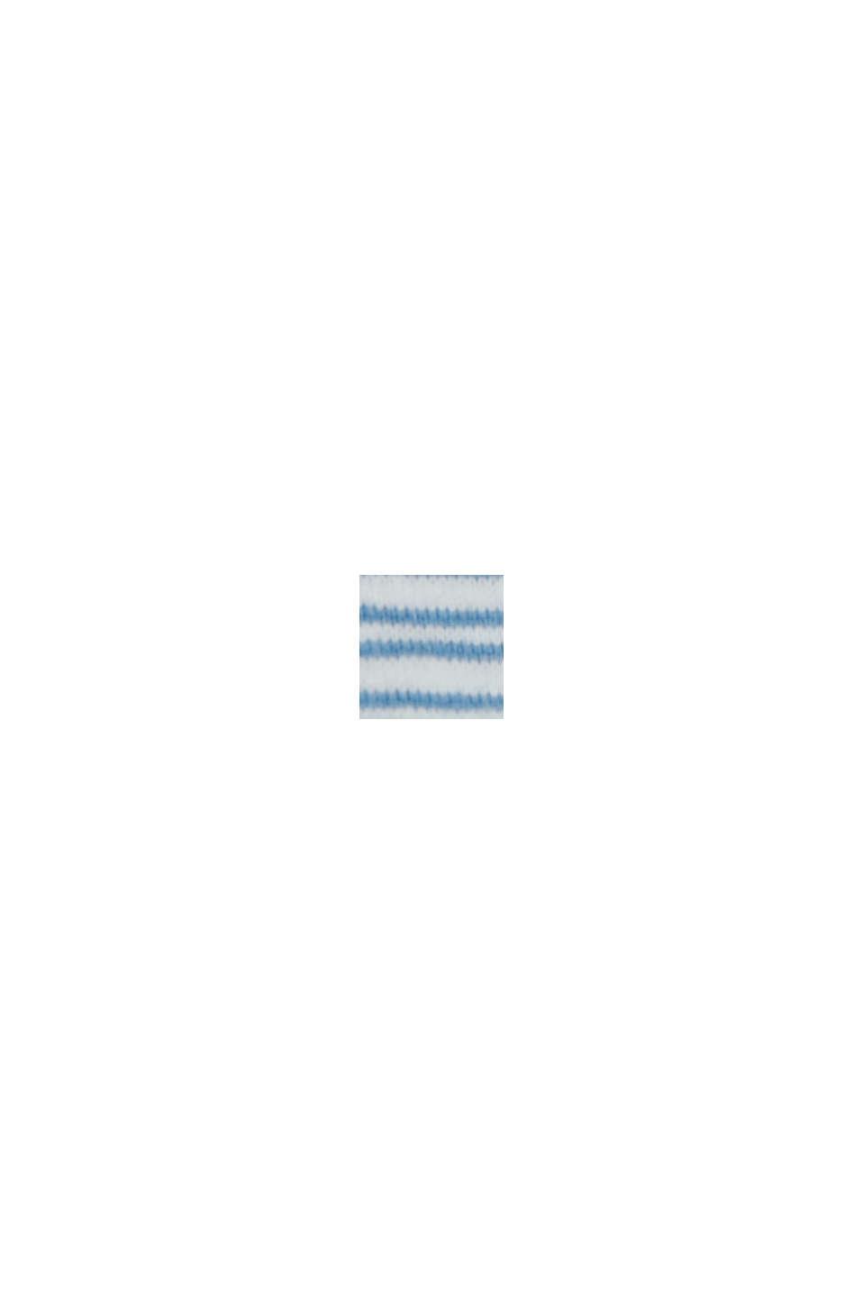 Linen blend: jersey T-shirt with stripes, PETROL BLUE, swatch