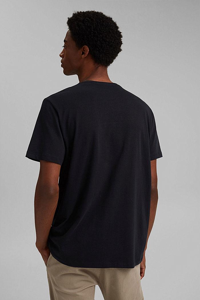 Mit Leinen: Jersey-Shirt mit Tasche, BLACK, detail image number 3