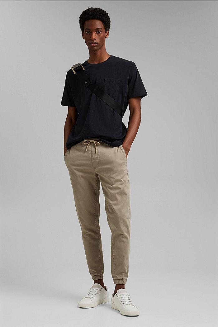 Mit Leinen: Jersey-Shirt mit Tasche, BLACK, detail image number 2