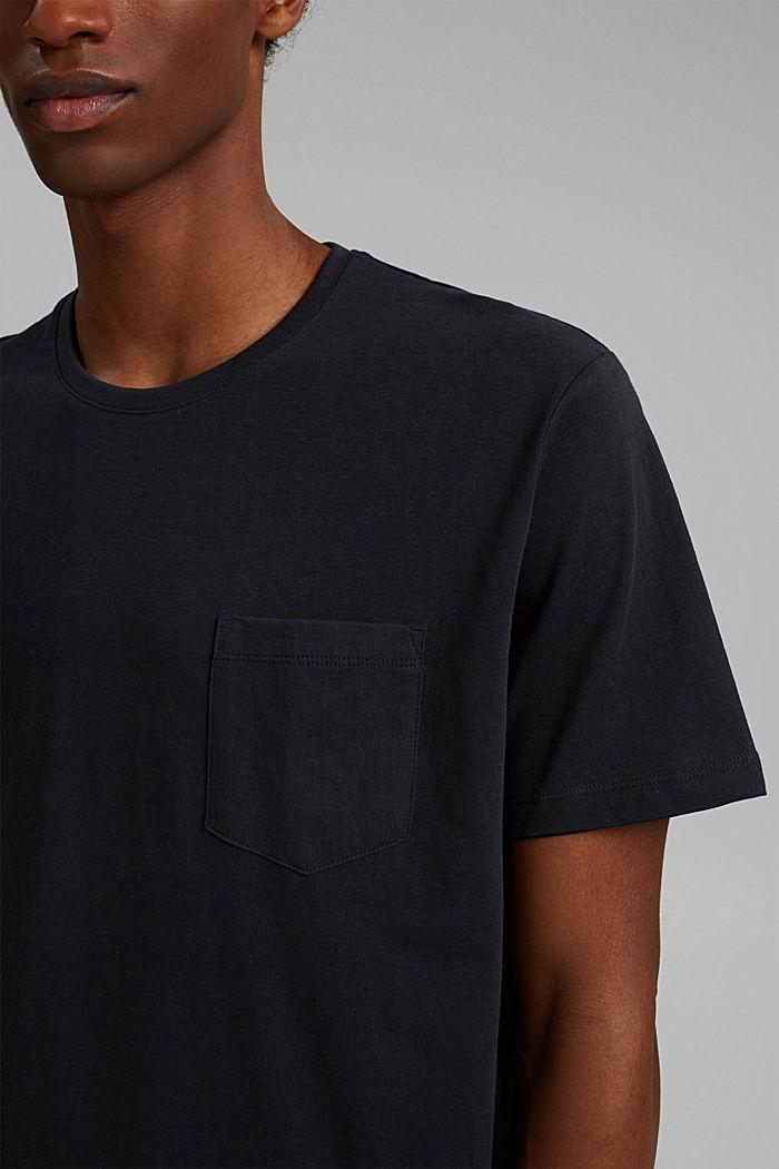 Mit Leinen: Jersey-Shirt mit Tasche, BLACK, detail image number 1