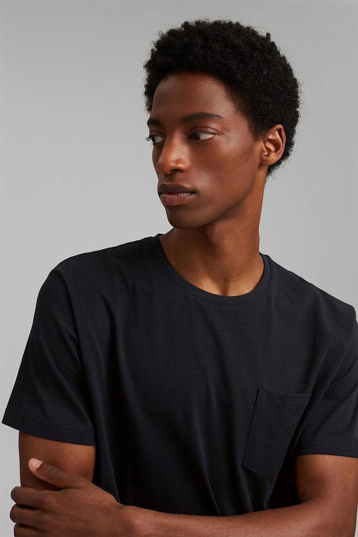Mit Leinen: Jersey-Shirt mit Tasche, BLACK, detail image number 5