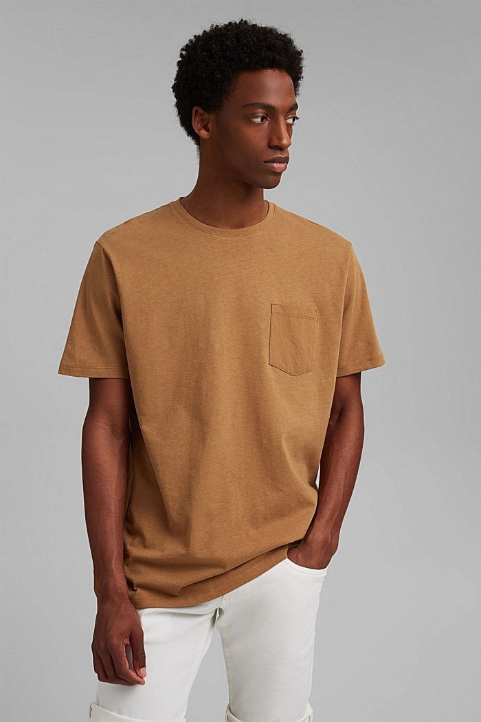 With linen: Jersey top with a pocket, CAMEL, detail image number 0