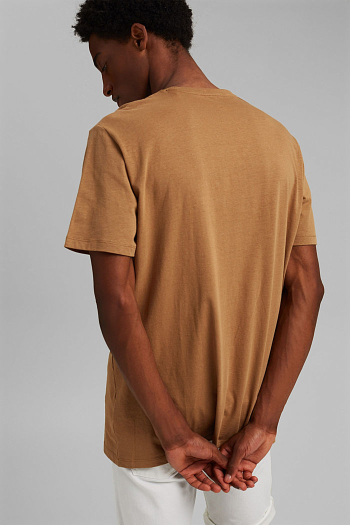 With linen: Jersey top with a pocket, CAMEL, detail image number 3
