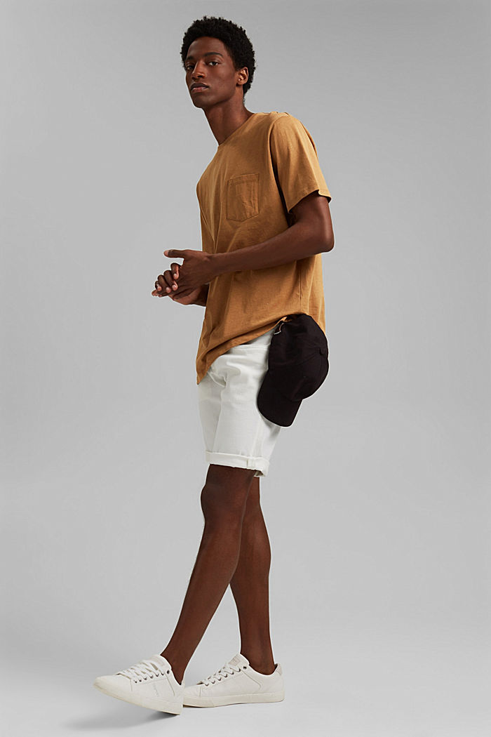 With linen: Jersey top with a pocket, CAMEL, detail image number 2