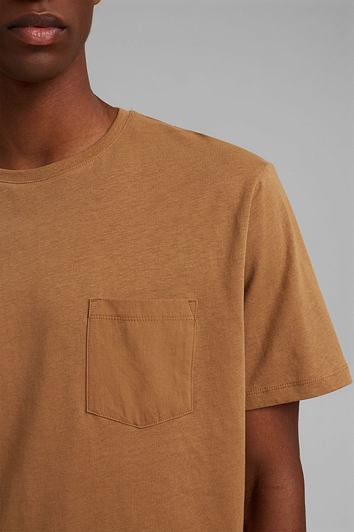 With linen: Jersey top with a pocket, CAMEL, detail image number 1