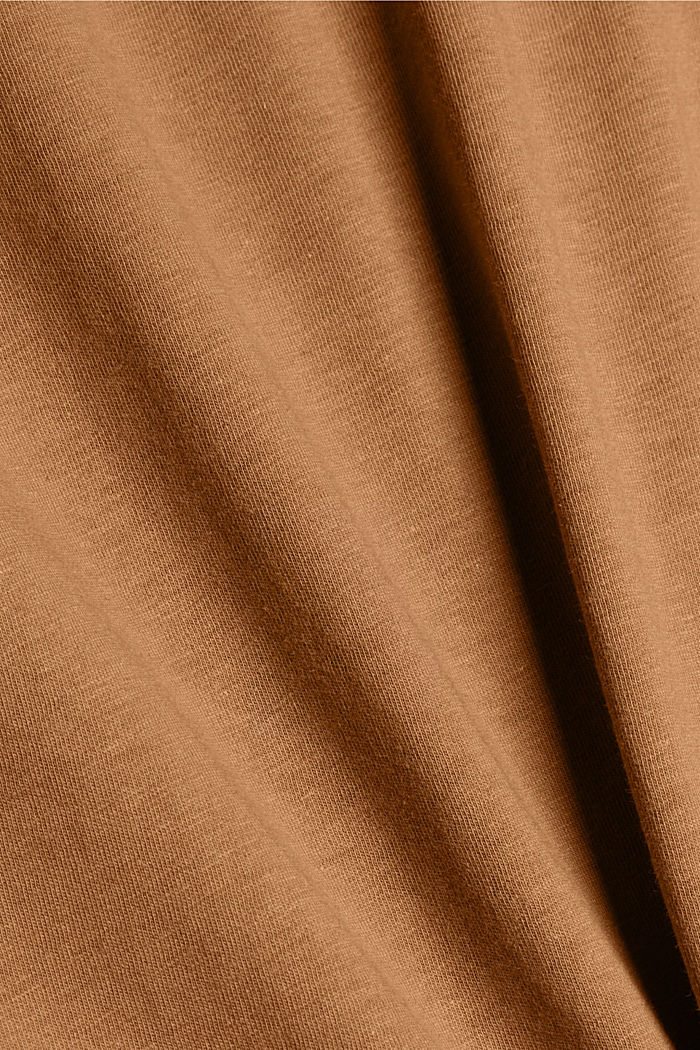 With linen: Jersey top with a pocket, CAMEL, detail image number 5