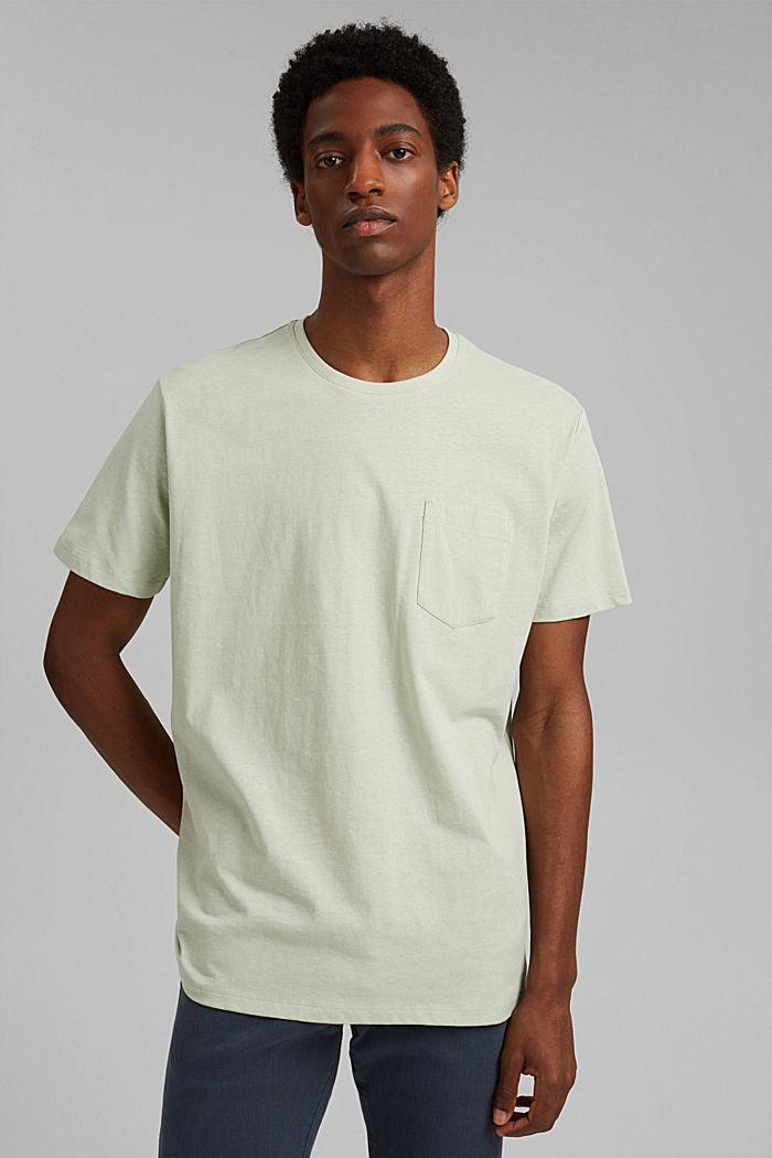With linen: Jersey top with a pocket, PASTEL GREEN, detail image number 0