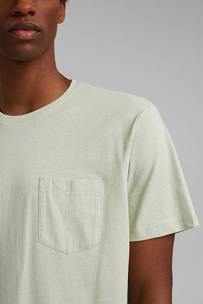 With linen: Jersey top with a pocket, PASTEL GREEN, detail image number 1