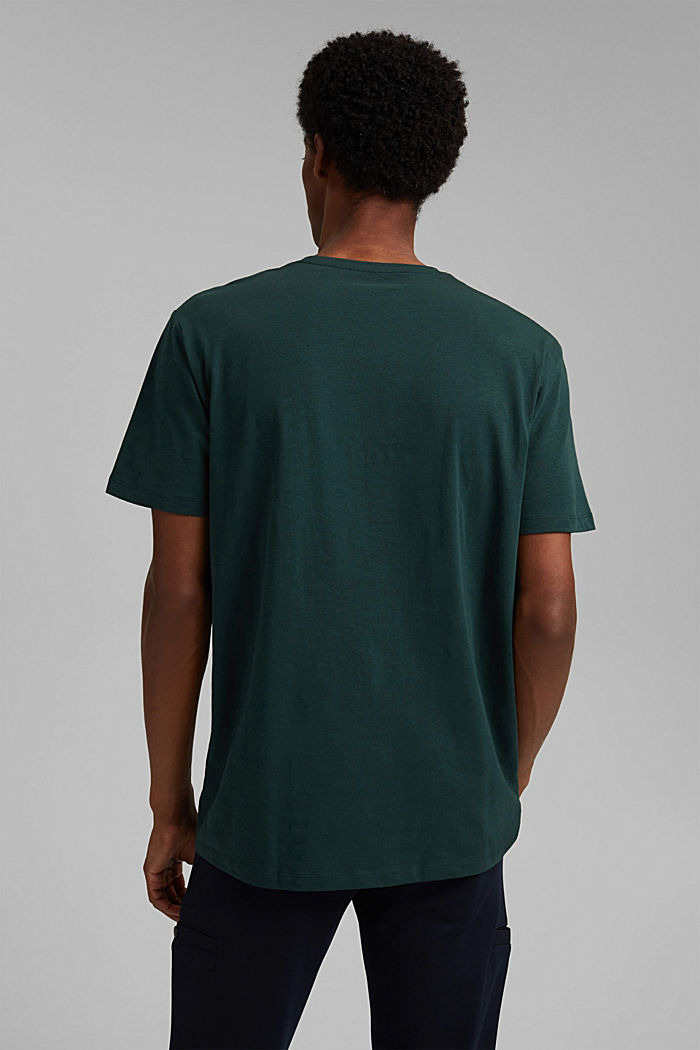 With linen: Jersey top with a pocket, TEAL BLUE, detail image number 3