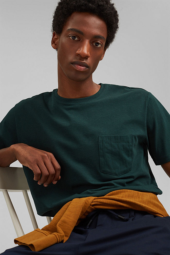 With linen: Jersey top with a pocket, TEAL BLUE, detail image number 4