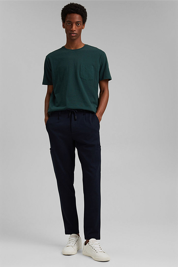 With linen: Jersey top with a pocket, TEAL BLUE, detail image number 2