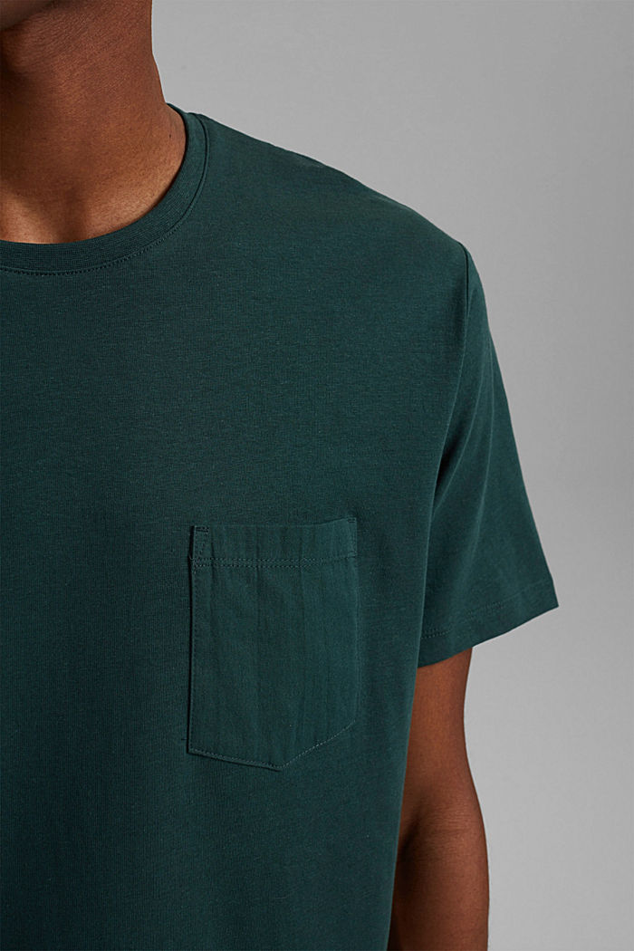 With linen: Jersey top with a pocket, TEAL BLUE, detail image number 1