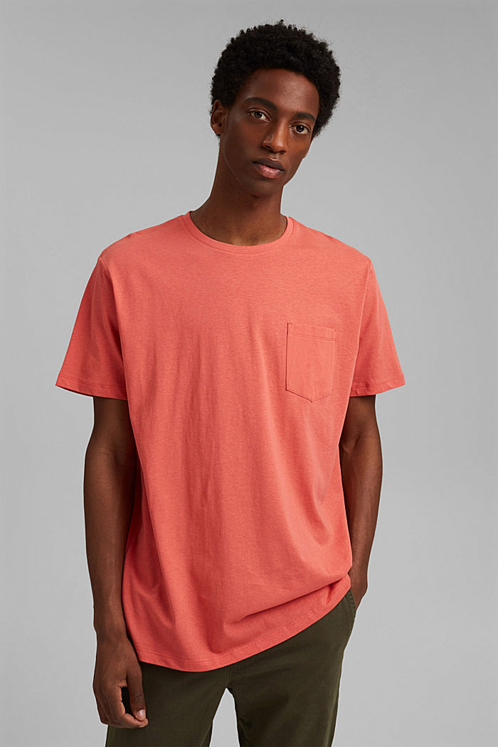 With linen: Jersey top with a pocket, CORAL RED, detail image number 0