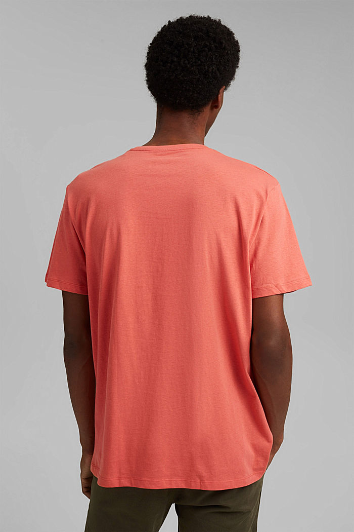 With linen: Jersey top with a pocket, CORAL RED, detail image number 3