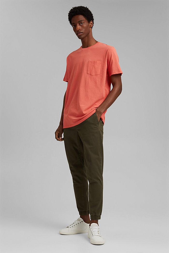 Mit Leinen: Jersey-Shirt mit Tasche, CORAL RED, detail image number 2