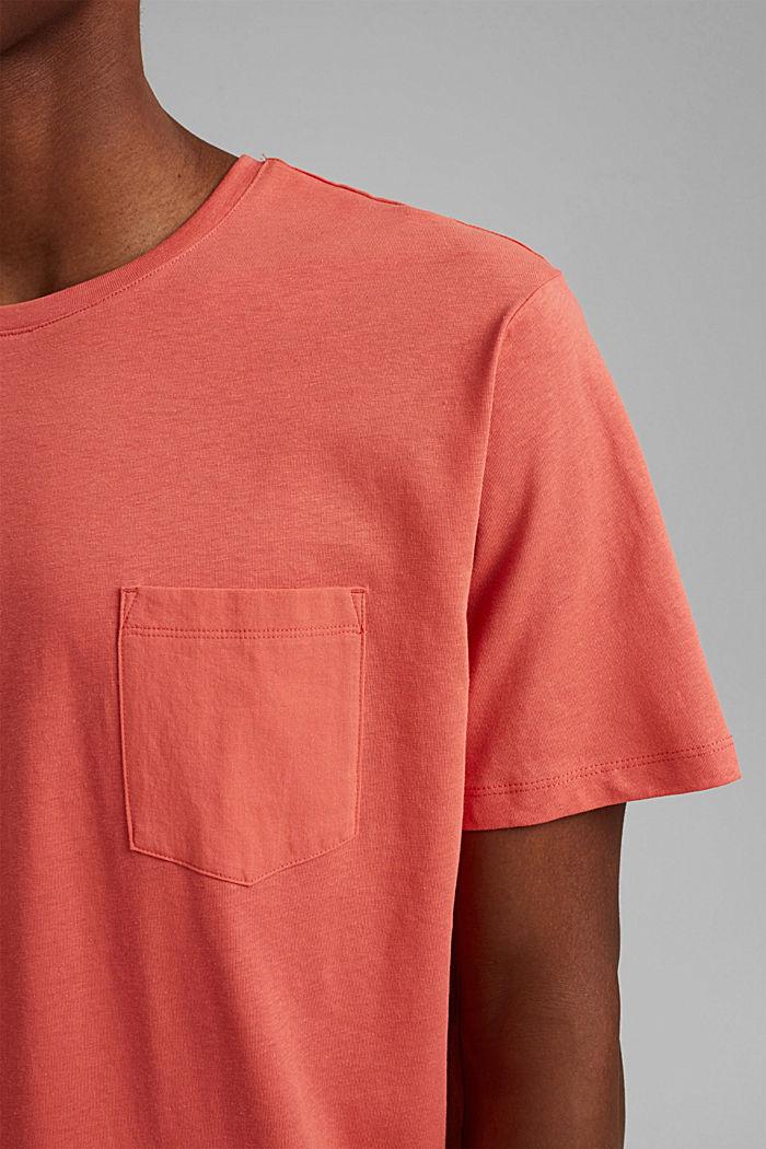 Mit Leinen: Jersey-Shirt mit Tasche, CORAL RED, detail image number 1