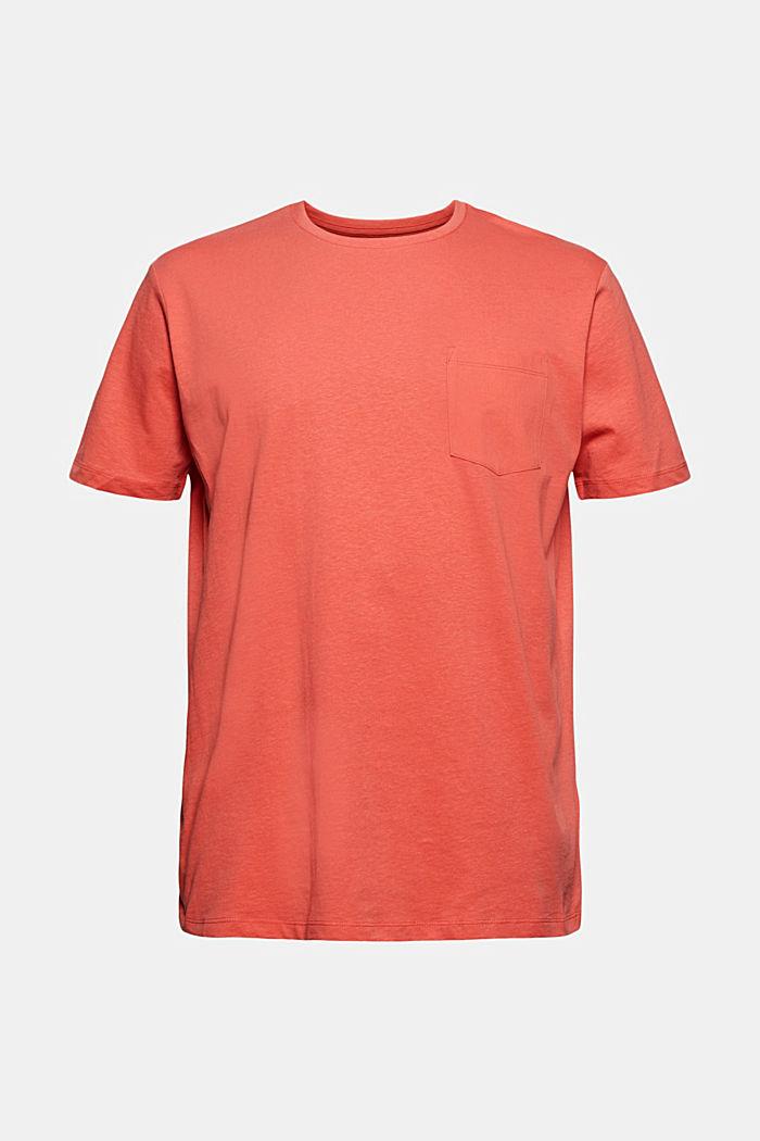 Mit Leinen: Jersey-Shirt mit Tasche, CORAL RED, detail image number 5