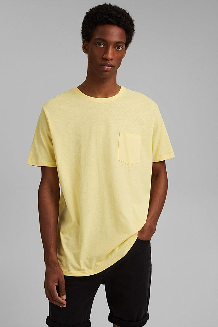 With linen: Jersey top with a pocket, LIGHT YELLOW, detail image number 0