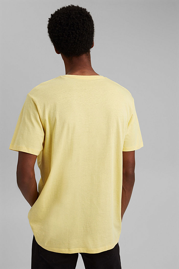 With linen: Jersey top with a pocket, LIGHT YELLOW, detail image number 3