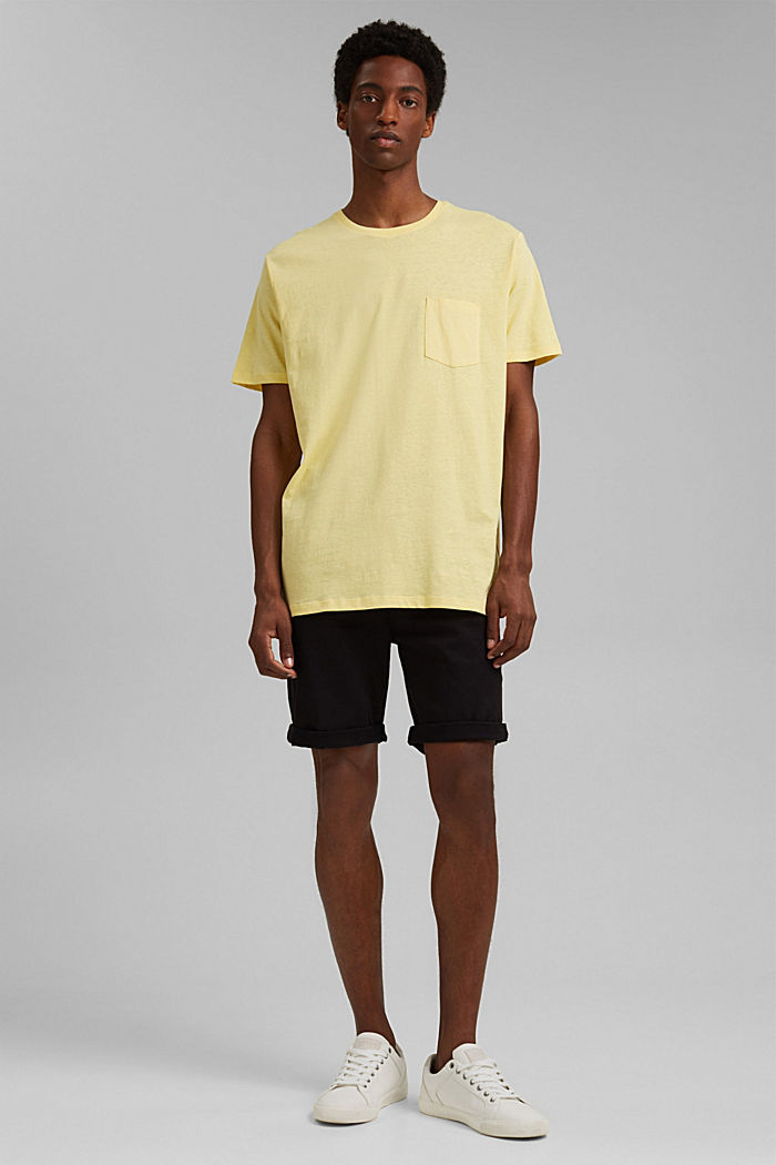 With linen: Jersey top with a pocket, LIGHT YELLOW, detail image number 2