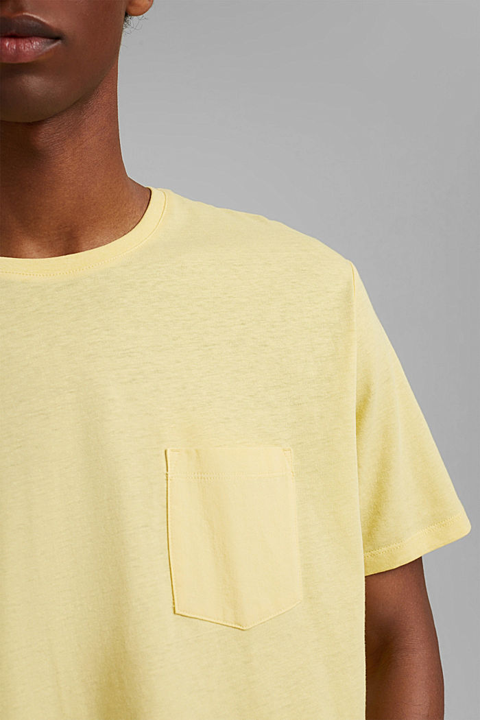 With linen: Jersey top with a pocket, LIGHT YELLOW, detail image number 1