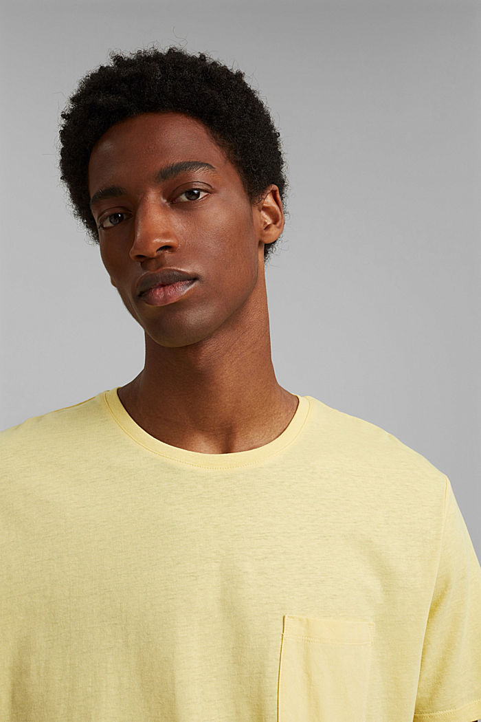 With linen: Jersey top with a pocket, LIGHT YELLOW, detail image number 5