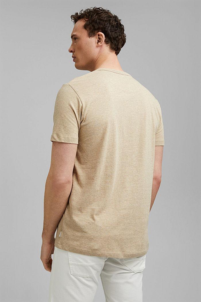 Jersey henley shirt van 100% biologisch katoen, LIGHT BEIGE, detail image number 3
