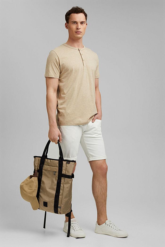 Jersey henley shirt van 100% biologisch katoen, LIGHT BEIGE, detail image number 2