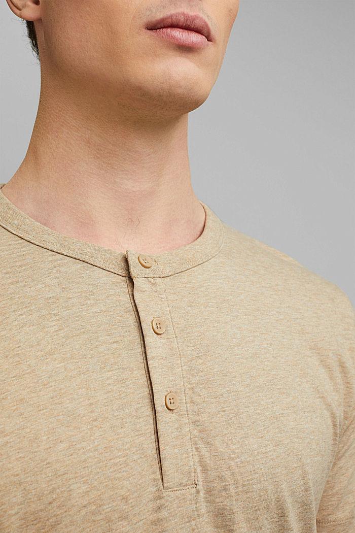 Jersey henley shirt van 100% biologisch katoen, LIGHT BEIGE, detail image number 1