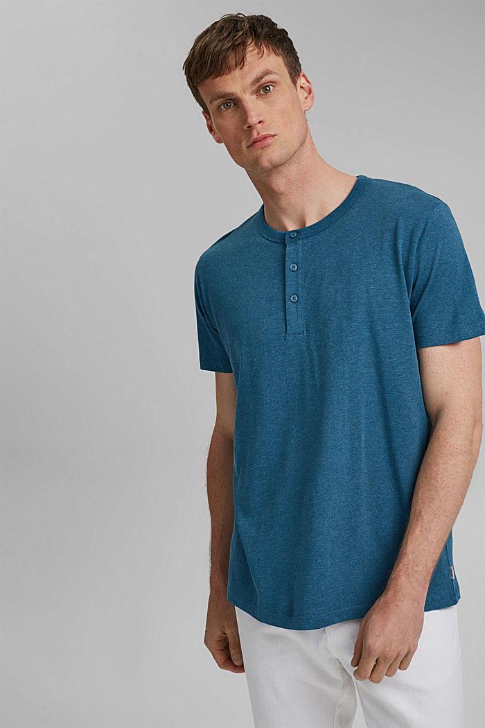 T-shirt col tunisien en jersey, 100% coton bio