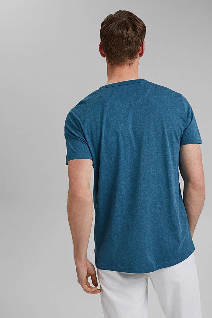 Camiseta henley de jersey en 100 % algodón ecológico, PETROL BLUE, detail image number 3