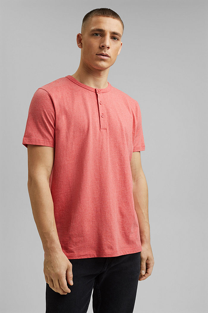 Jersey Henley T-shirt in 100% organic cotton, CORAL RED, detail image number 0