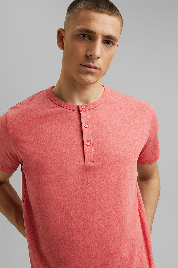 Jersey Henley T-shirt in 100% organic cotton, CORAL RED, detail image number 4