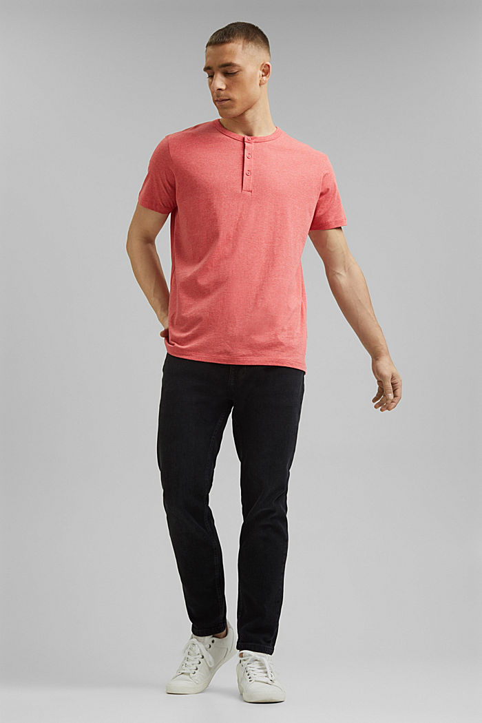 Jersey Henley T-shirt in 100% organic cotton, CORAL RED, detail image number 6