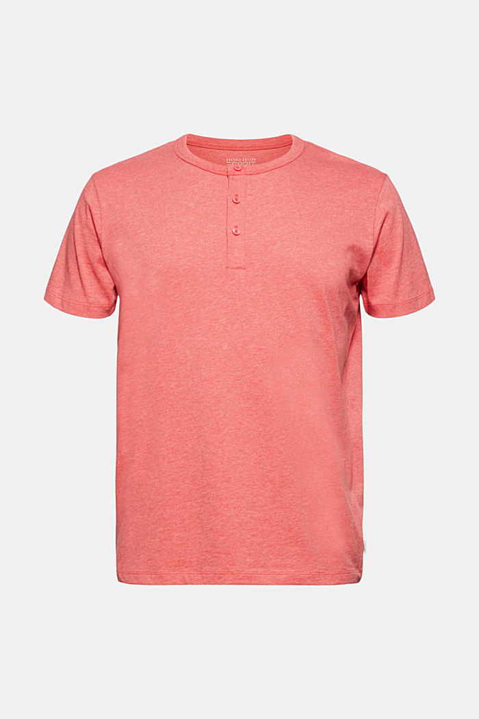 Jersey Henley T-shirt in 100% organic cotton, CORAL RED, detail image number 7
