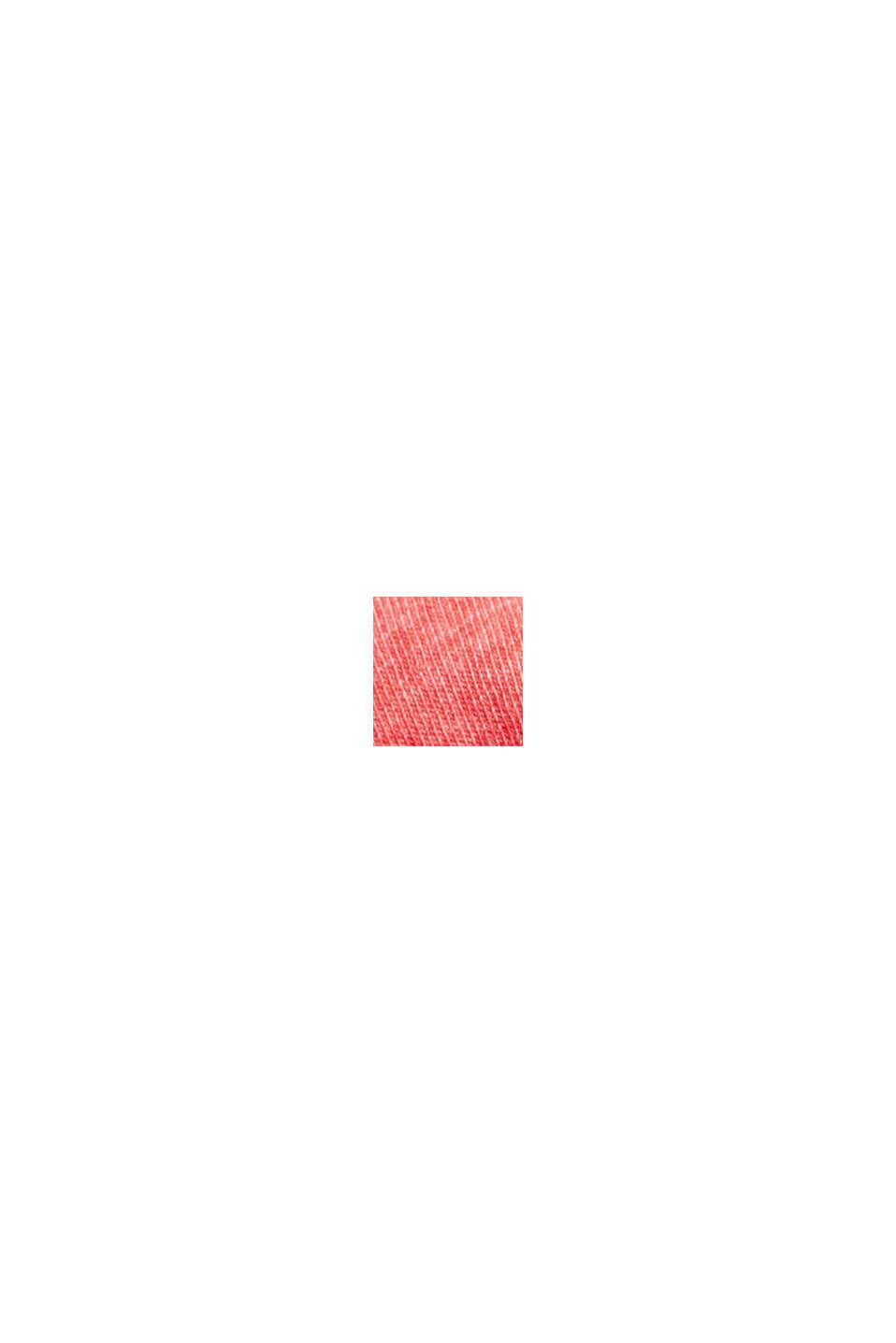 Camiseta henley de jersey en 100 % algodón ecológico, CORAL RED, swatch