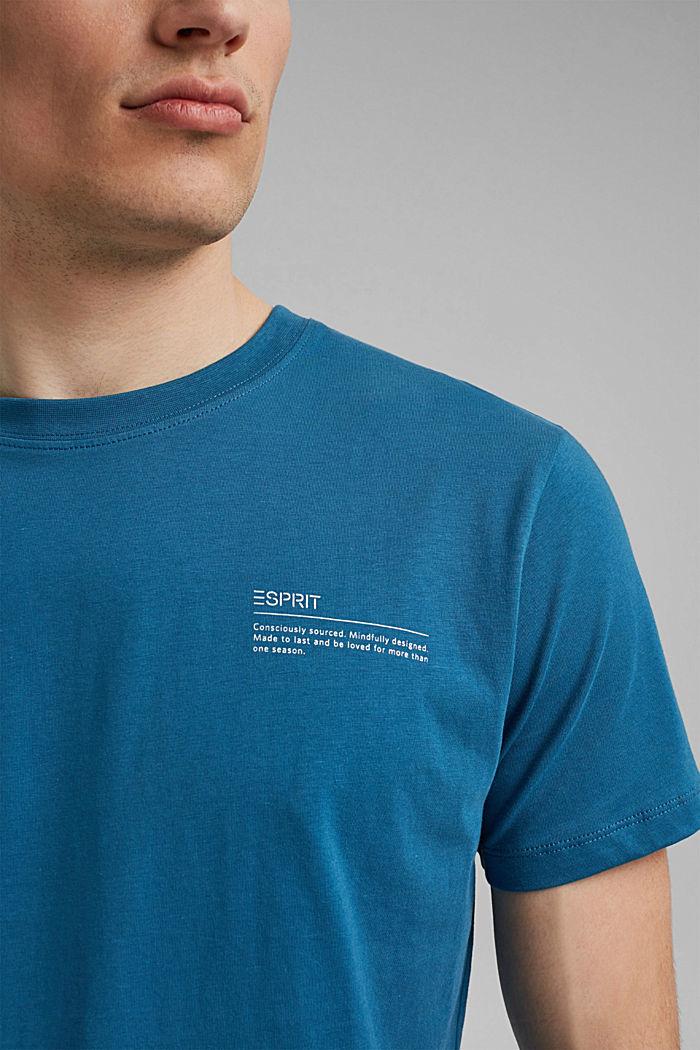 Tričko s potiskem, 100% bio bavlna, PETROL BLUE, detail image number 1