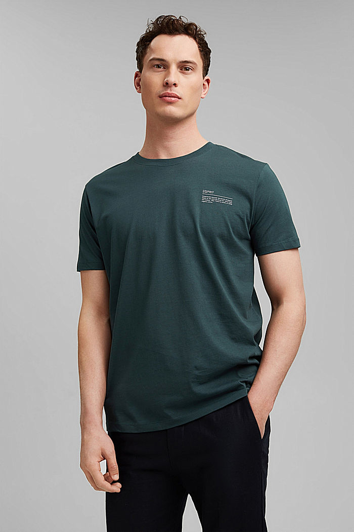 T-shirt à imprimé, 100% coton biologique, TEAL BLUE, detail image number 0
