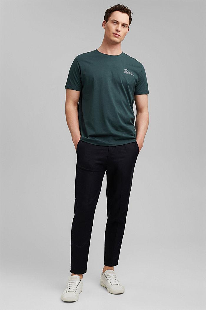 T-shirt à imprimé, 100% coton biologique, TEAL BLUE, detail image number 2