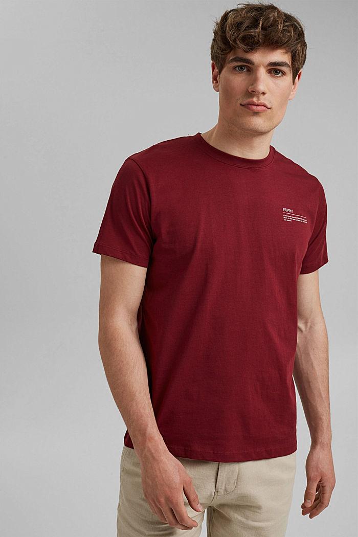 T-shirt à imprimé, 100% coton biologique, GARNET RED, detail image number 0